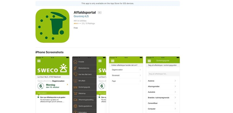 Hent affalds-app i App Store eller Google Play